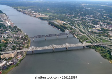 Aerial View of the Ohio River between Jeffersonville, Indiana and Louisville, Kentucky