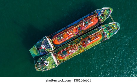 Aerial view oil / chemical tanker in open sea, Refinery Industry cargo ship.