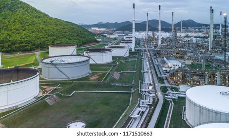 Aerial view oil and gas industrial, Oil refinery plant, Refinery factory oil storage tank and pipeline steel.