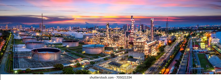 Aerial view of Oil and gas industry - refinery, Shot from drone of Oil refinery and Petrochemical plant at twilight, Bangkok, Thailand