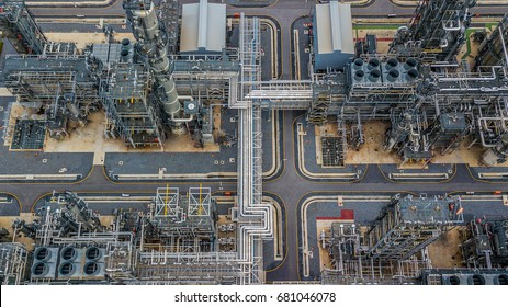 Aerial view oil and gas refinery plant form industry zone at night.