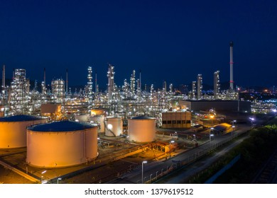 Aerial view. oil refinery factory and Oil industry at twilight. Petrochemical Industrial.