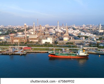 Aerial view Oil refinery .The factory is located in the middle of nature and no emissions. The area around the air pure.