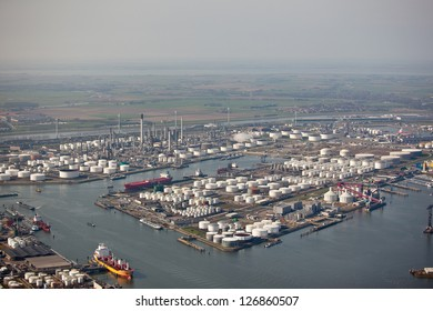 Aerial view of an oil refinery in a harbor