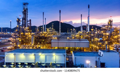 Aerial view of Oil refinery, Oil Industry at sunset.