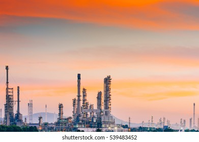 Aerial view oil refinery with morning sky background during twilight,Industrial zone,Energy power station.