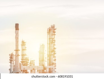 Aerial view oil refinery night background during twilight,Industrial zone,Energy power station.