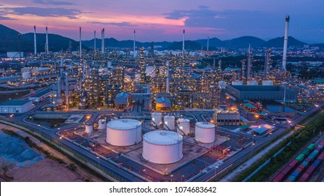 Aerial view oil refinery, refinery plant, refinery factory petrochemical plant, oil and gas chemical tank.
