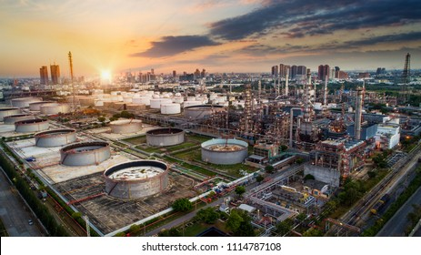 Aerial view oil refinery, refinery plant, Industrail refinery factory Petrochemical plant at sunset background