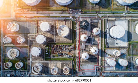 Aerial view oil refinery, refinery plant, refinery factory petrochemical plant, Business Logistics Concept