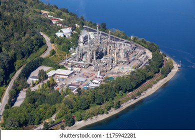 Aerial view of oil refinery in Port Moody, Greater Vancouver, BC, Canada.