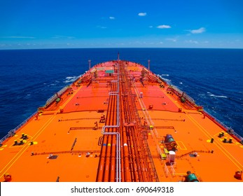 An aerial view of an oil tanker