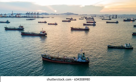 Aerial view oil tanker cargo ship.