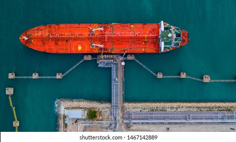 Aerial view oil tanker ship at the oil tanker and LPG gas in port for export at sea