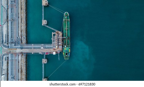Aerial view oil tanker ship at the port, Import export business logistic and transportation by tanker ship.