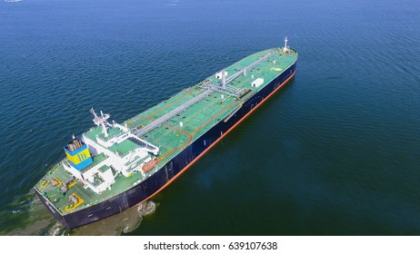 Aerial view oil tanker side view at sea
