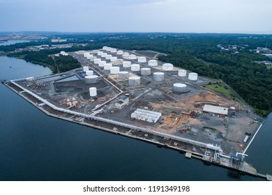Aerial view of oil tanks at an oil refinery