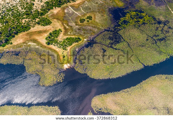 Aerial view of Okavango Delta (Okavango Grassland), One of the  Seven Natural Wonders of Africa, Botswana