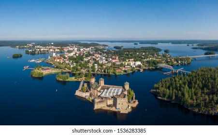 Aerial view of Olavinlinna castle and Savonlinna town in the heart of the Saimaa lake region in Finland