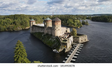 Aerial view of Olavinlinna castle in Savonlinna, Finland