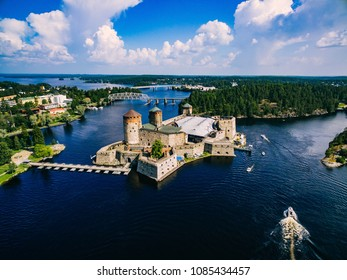 Aerial view of olavinlinna medieval castle in Savonlinna, Finland. Drone photography