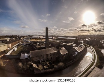 Aerial view of an old abandoned, derelict pottery factory and bottle kiln located in Longport, Stoke on Trent, Staffordshire. Industrial decline