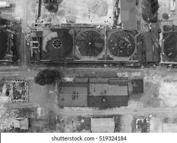 Aerial view of old airplane hangars in germany from the first world war - lost place