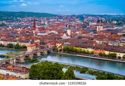Aerial view of  old  Bridge across the Main river  and historic buildings in  Wurzburg, Germany.