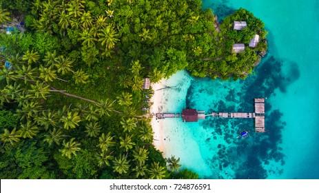 Aerial view of old bridge in Raja Ampat, West Papua, Indonesia.
