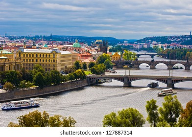 aerial view of the old bridges of Prague