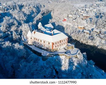 Aerial view of old castle fortress in Ozalj in the winter, Karlovac county, Croatia