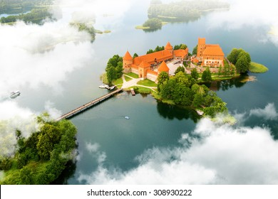 Aerial view of old castle. Trakai, Lithuania.