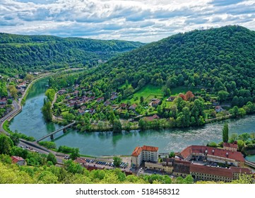 Aerial view of the old city from the citadel in Besancon of Bourgogne Franche Comte region in France.