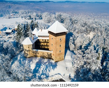 Aerial view of old city Dubovac with castle in the winter, Karlovac, Croatia