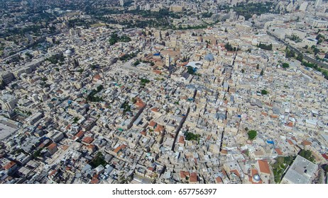 Aerial view of the Old City Jerusalem