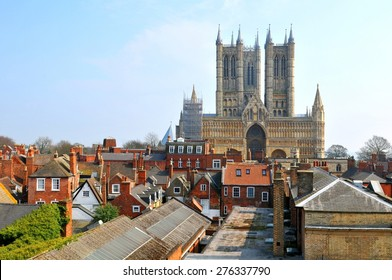 Aerial view of the old city of Lincoln, a cathedral city and the county town of Lincolnshire, within the East Midlands of England