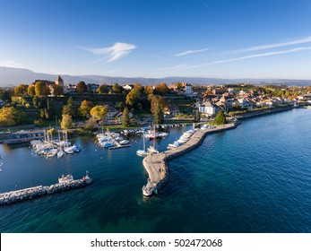 Aerial view of the Old city of Nyon and its waterfront, Switzerland