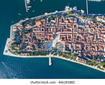 Aerial view of the old city Zadar.