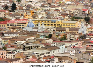 Aerial view of old colonial part of Quito, Ecuador