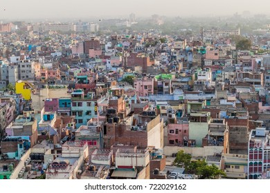 Aerial view of Old Delhi, India.