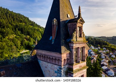 Aerial view of old feudal castle Burg Rodech, Germany