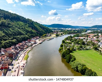 Aerial view from old german town Miltenberg am Main river. Odenwald, Bavaria, Germany