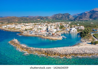 Aerial view of the old harbor of traditional village Sisi, Crete, Greece