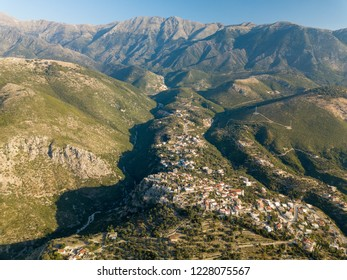 Aerial view of old Himara village along the Albanian Riviera (Albania, Vlora, Himare)