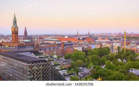 Aerial view of the old historical town in the danish capital Copenhagen during summer sunset