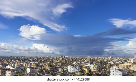 Aerial view of Old Kolkata city