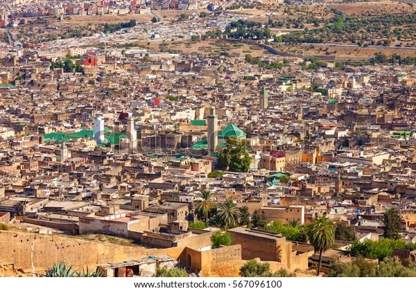 Aerial view of the old Medina in Fes, Morocco (Fes El Bali Medina)
