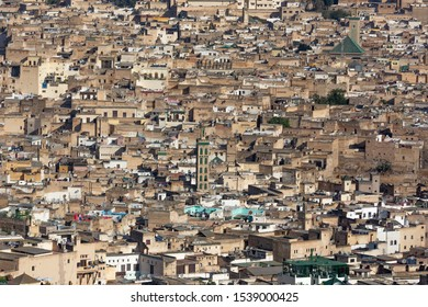Aerial view of old medina in Fez city, Morocco.