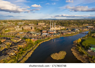 Aerial view of the Old Mill District in Bend, Oregon.