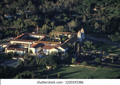 Aerial view of the Old Mission of Santa Barbara, founded in 1786 (present building 1820), the most beautiful and preserved of all the Spanish Franciscan missions in California, USA.